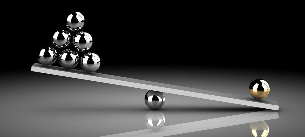 marbles acting as a weight, with one weak end outweighing the perceived strong end